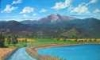 This patron wanted a large painting to hang above her huge fireplace.  She provided Patty with several photos she took of Longs Peak right from her neighborhood.  She asked to have her children and their dog on the path, to add wildflowers along the trail, put cows in the pasture, and to make the water more of a light turquoise color, which is how it appears in real life.